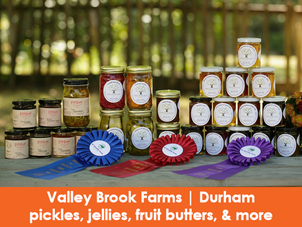 Valley Brook Farms, Durham, pickles, jellies, jams, apple butter, pear butter, pickled vegetables