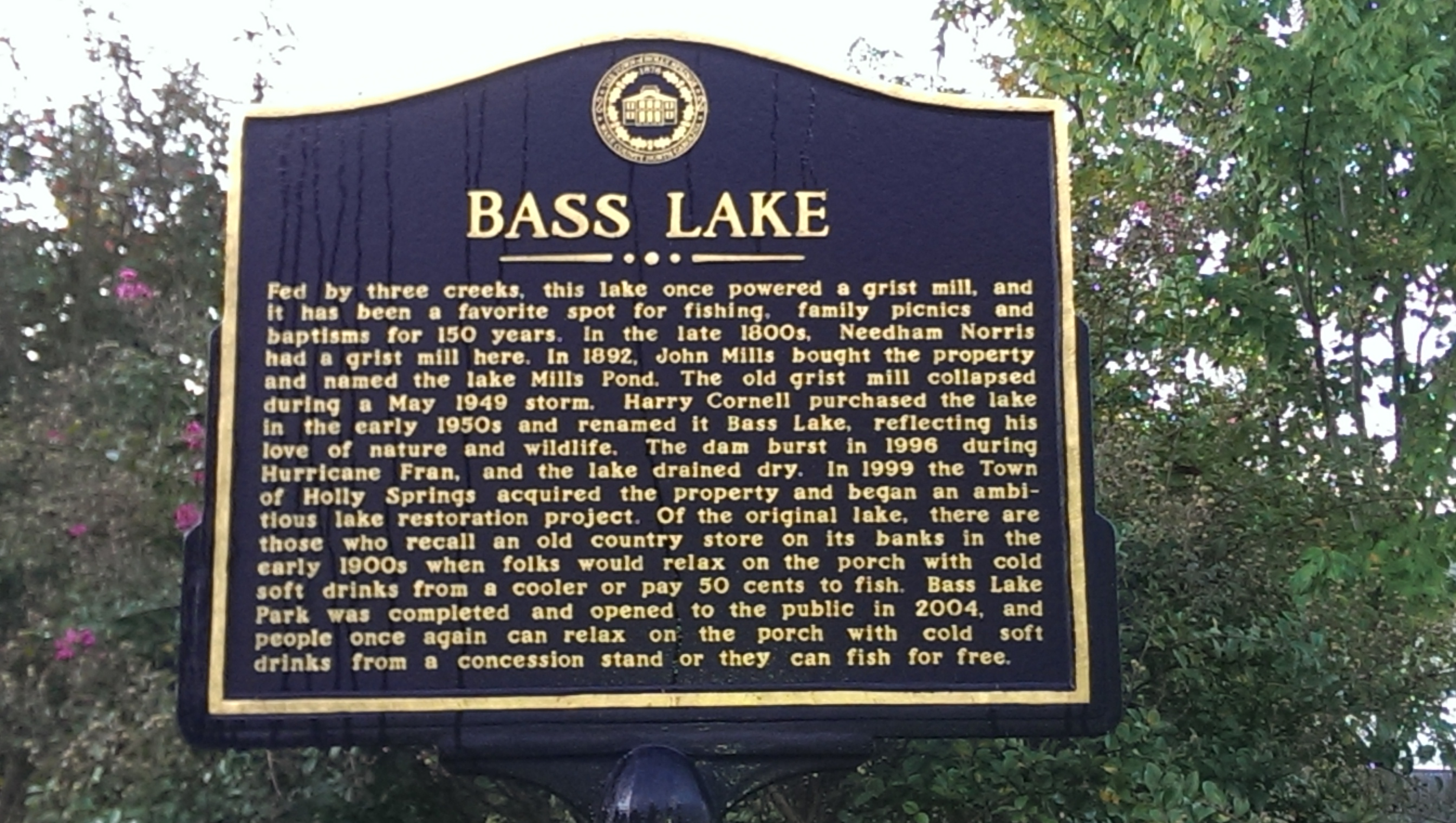 History of Bass Lake Sign