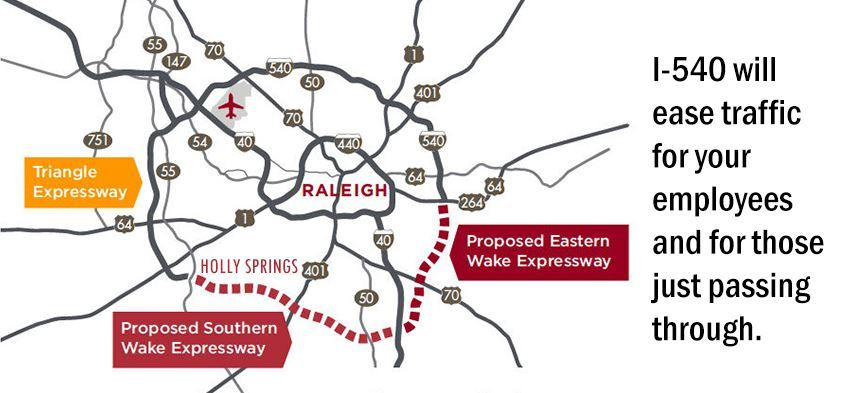 route of interstate 540 and its connection to Holly Springs